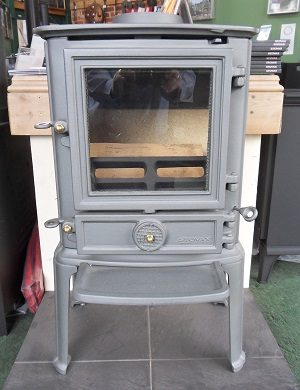 Stovax Brunel 1A Multifuel Stove in Grey With Tall Legs