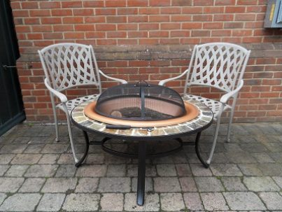 Oval Firepit Table & Armchairs