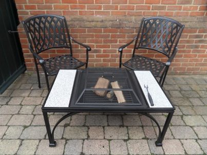 Square Firepit Table & Armchairs